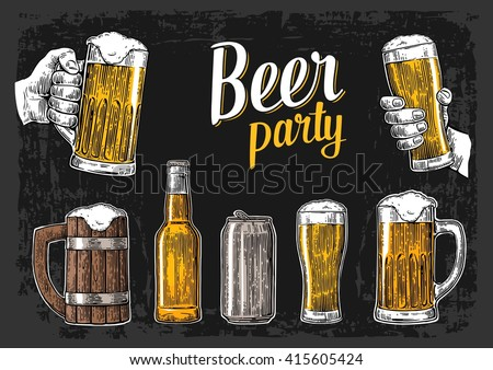 Two hands holding beer glasses mug. Glass, can, bottle. Vintage vector engraving illustration. Isolated on dark background. For bar poster,  invitation to party, web banner, oktoberfest festival