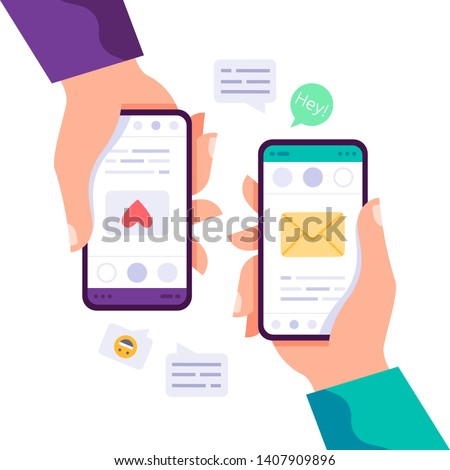 Two hands holding phone with message, icons and emoji. Communication concept on white background. Social networking concept. Vector flat cartoon illustration for web sites and banners design