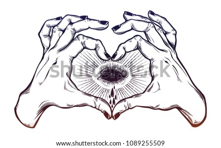 two hands making heart sign