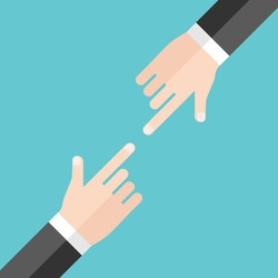 Two hands of businessmen blaming and pointing at each other on turquoise blue background. Argument, conflict and responsibility concept. Flat design. Vector illustration, no transparency, no gradients