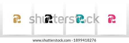 Two Hands On Letter Logo Design R Photo stock ©