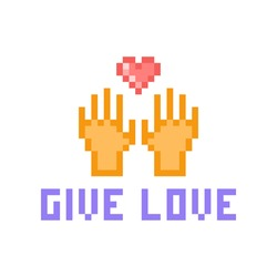Two hands reaching for a red heart, Valentine's day pixel art icon isolated on white background. Give love, 8 bit print. Charity logo. Sharing concept. Care and support greeting card. 2d game graphics