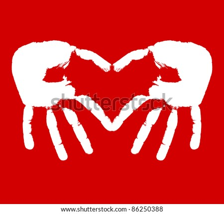 Two hands representing heart. Vector illustration