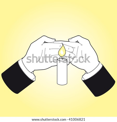 two hands saving a candle flame stock vector 41006821   shutterstock