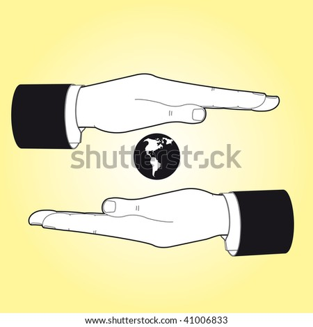 two hands saving the earth - stock vector