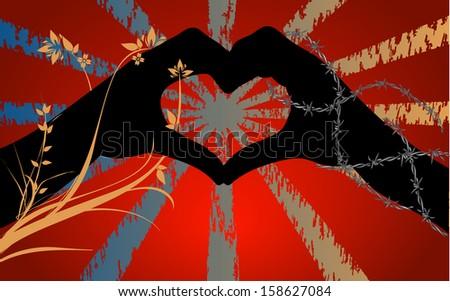 two hands shadow shape heart