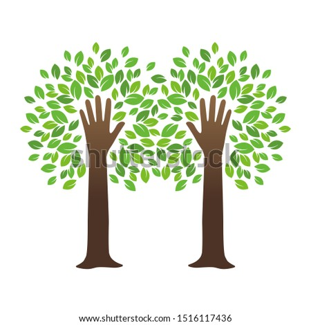two hands tree with leaves