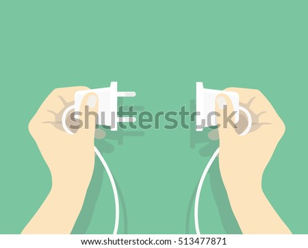 Two hands trying to connect electric plug together, Connection vector illustration in flat style