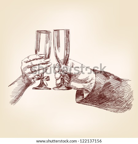 Two hands with champagne glasses vector llustration
