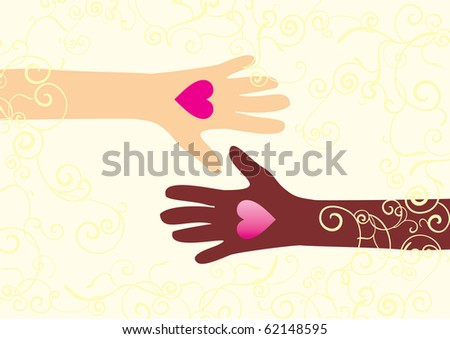 Two hands with hearts white and brown skin  friendship and love vector illustration