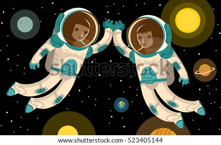 two happy astronauts in space