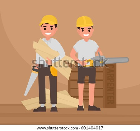 Two happy carpenters stand with tools. Vector foreman, joiner, woodworker in flat style