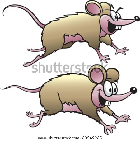 Two happy cartoon mice. Vector file available.