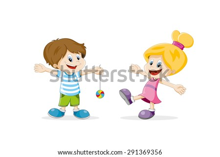 two happy children cartoon