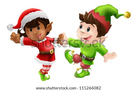 Two happy Christmas elves enjoying a Christmas dance in Santa outfit and elf clothes