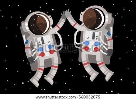 two happy cute astronauts