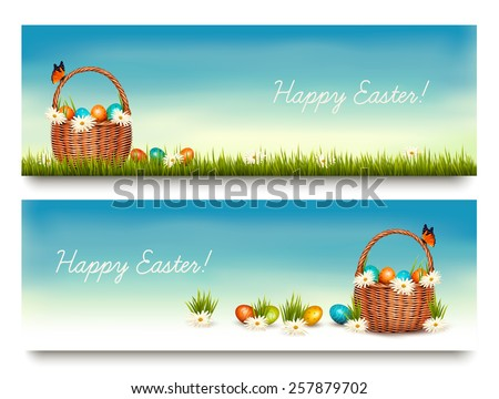 two happy easter banners with