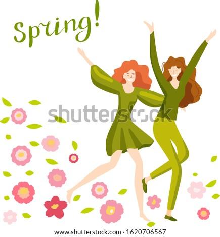 two happy girls run on spring
