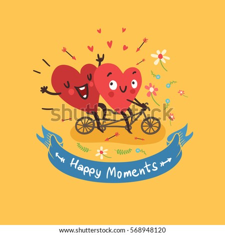 two happy hearts biking with