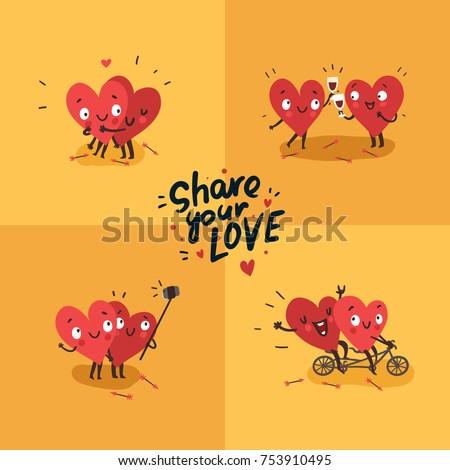 two happy hearts in love cute