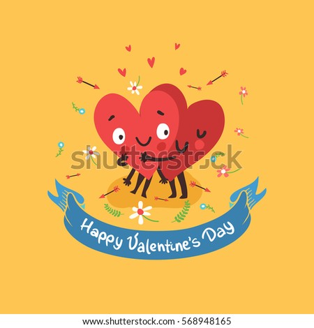 "Two happy hearts in love hugging on background with flowers and ribbon with ""Happy Valentine's day"" text. Vector card for wedding or date."