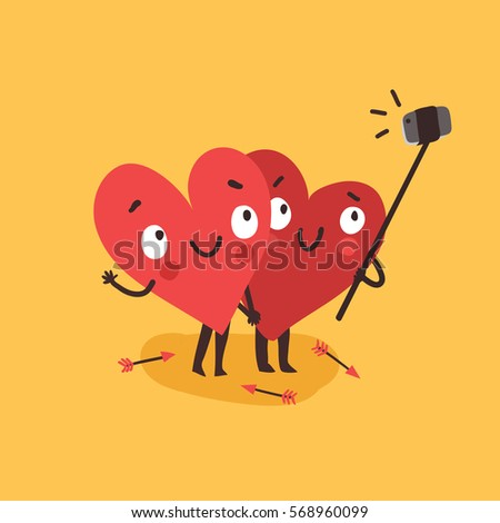 two happy hearts making selfie