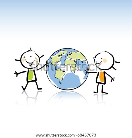 two happy kids holding the globe vector illustration,peace on earth concept in children's drawing style series. see more images related