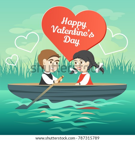 two happy lovers in a boat on