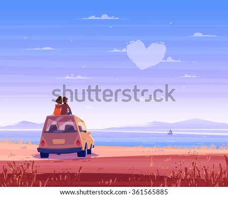 Two Happy lovers sitting on the roof of the car and look at the sea. Modern design stylish illustration. Retro flat vector background. Valentine's Day Card.