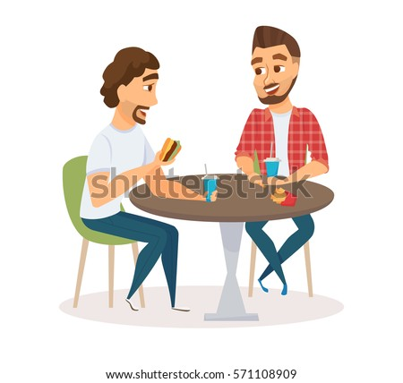 Two happy male friends eating fast food meal in bar. People sitting, talking and having  lunch burgers, fries and drinking soda. Meeting of young fun and smiling men