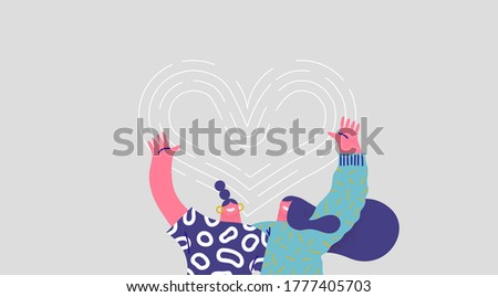 Two happy women hugging together and smiling with heart shape love symbol. Isolated friend cartoon character illustration for best friends relationship, sisters or couple concept. Foto d'archivio ©