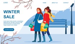 Two happy women return home after a Winter Sale carrying their shopping bags filled with discounted bargains, colored vector illustration web page template