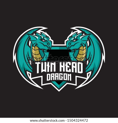 two head dragon logo for gaming