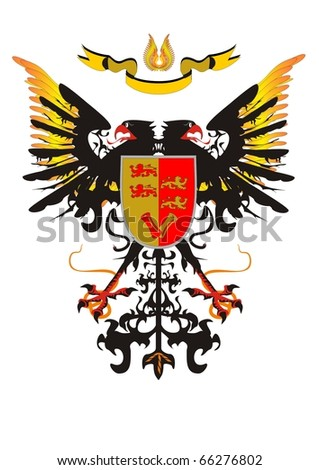 Two-headed eagle with a shield and a ribbon
