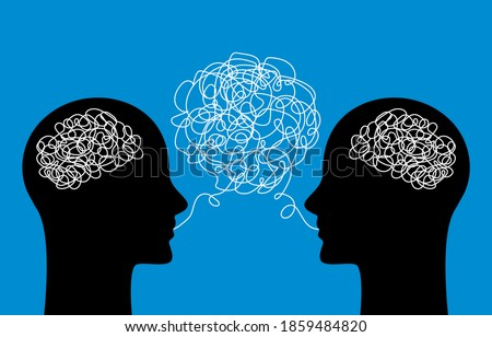 two heads of people with confused thoughts in their heads are talking and talking nonsense. misunderstanding and gossip concept. psychology of communication. vector illustration isolated ストックフォト ©