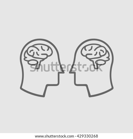 Two heads with brain icon. simple isolated silhouette symbol. Brain head icon. Head with brain vector.