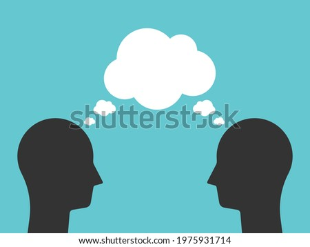 Two heads with common speech bubble thinking together. Teamwork, synergy, creativity, idea, brainstorming and communication concept. Flat design. EPS 8 vector illustration, no transparency, no gradien Stock fotó ©