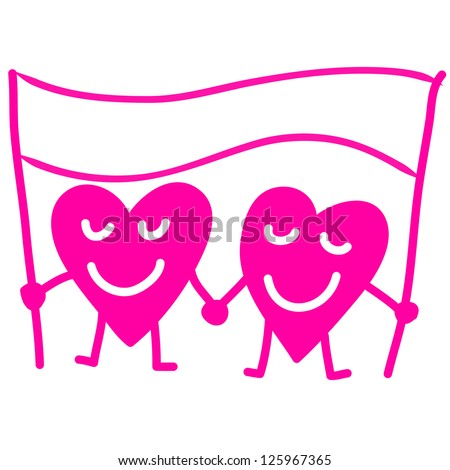 Two heart in love holding hands, cartoon drawing - stock vector