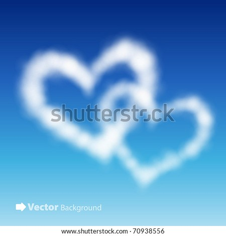 two heart shaped clouds in the