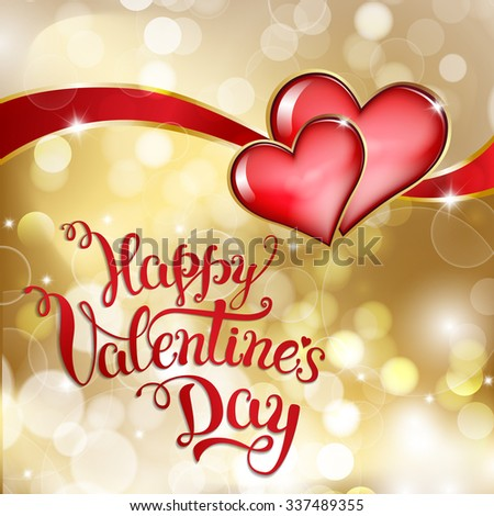 Two hearts and original hand lettering  Happy Valentine\'s day. Vector illustration for Valentine\'s day posters, icons, Valentine\'s day greeting cards, Valentine\'s day print and web projects.