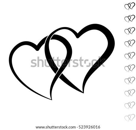 two hearts   black vector icon