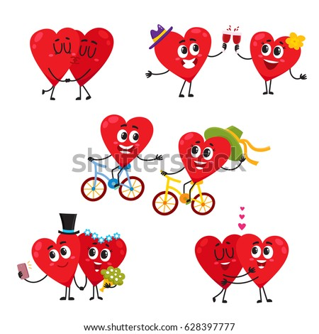 two hearts doing funny