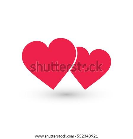 two hearts icon  vector