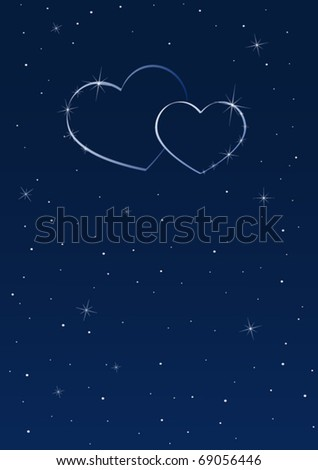 Two hearts in the starry sky