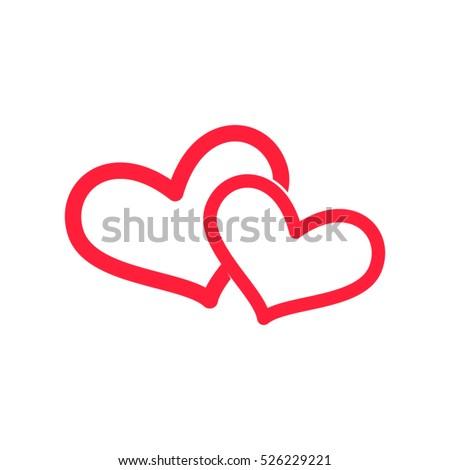 two hearts  love  vector icon