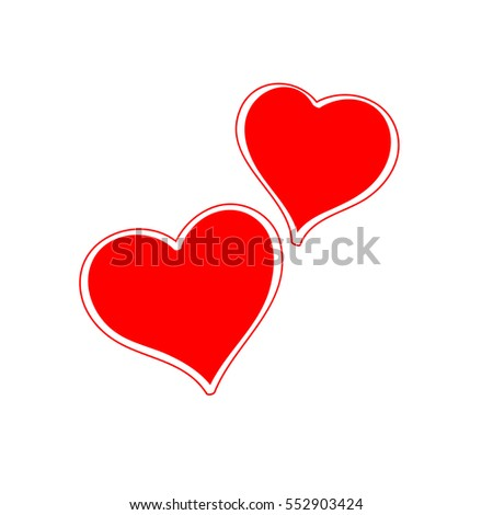 two hearts on valentine's day