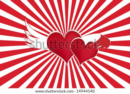 stock vector Two Hearts One Love Vector Illustration