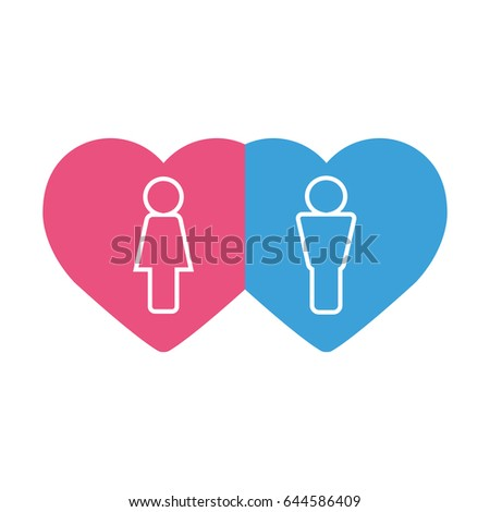 two hearts pink and blue on a