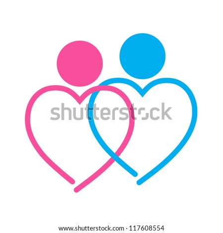 two hearts symbol on white