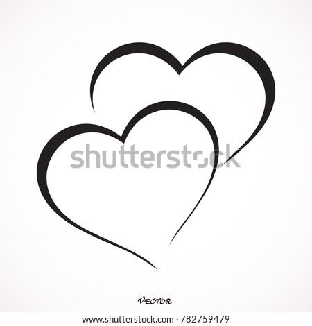 two hearts   vector icon